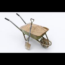 Wheelbarrow with Sand 3D Model