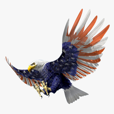 American Bald Eagle Stars And Stripes… - rigged - animated 3D Model