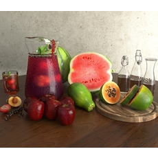 Fruits and Juice 3D Model