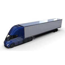 Tesla Truck with Chassis Interior and Trailer Blue 3D Model
