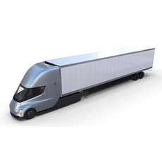 Tesla Truck with Interior and Trailer Silver 3D Model