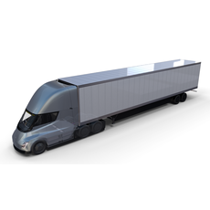 Tesla Truck with Chassis Interior and Trailer Silver 3D Model