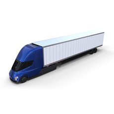 Tesla Truck Blue w trailer 3D Model