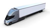 Tesla Truck Silver w trailer 3D Model