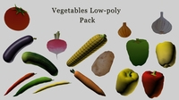 Low-Poly vegetables pack 3D Model