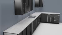 Low Poly Kitchen Grey 3D Model