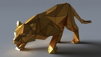 tiger lowpoly 3D print model Low-poly 3D Model