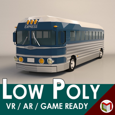 Low Poly Intercity Bus 3D Model