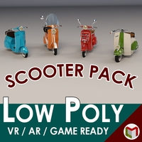 Low Poly Scooter Pack 3D Model