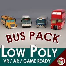 Low Poly Bus Pack 01 3D Model