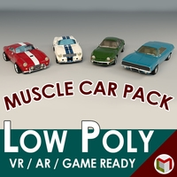 Low Poly Muscle Car Pack 3D Model
