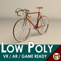 Low Poly Vintage Racing Bike 3D Model