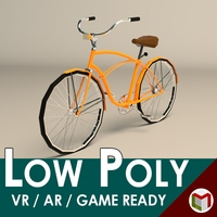 Low Poly Vintage Cruiser Bike 3D Model