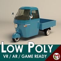 Low Poly Three Wheeled Pickup 3D Model