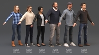 Rigged People SixPack 001 3D Model