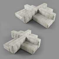 Modern Velvet Sofa 3D Model