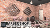 Barber shop - interior and props 3D Model