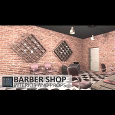 Barber shop - interior and props 3D Model
