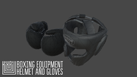 Boxing equipment - helmet and gloves 3D Model