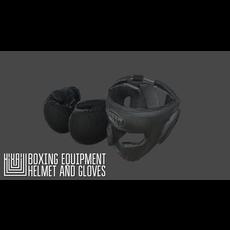 Boxing equipment - helmet and gloves 3D Model