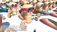 Cartoon worms - characters with animations 3D Model