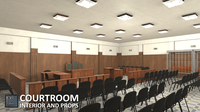 Courtroom - interior and props 3D Model