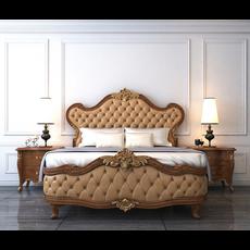 European Style Bed 3D Model