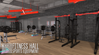 Fitness hall - sports equipment 3D Model
