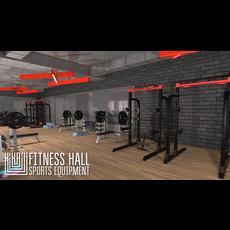 Fitness hall - sports equipment 3D Model