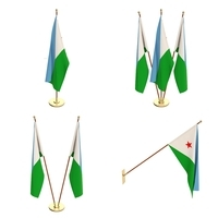 Djibouti Flag Pack 3D Model