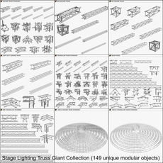 Stage Lighting Truss Giant Collection (149 unique modular objects) 3D Model