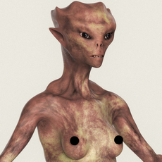 Realistic Female Alien 08 3D Model