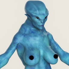 Realistic Female Alien 09 3D Model