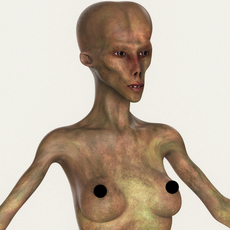 Realistic Female Alien 10 3D Model