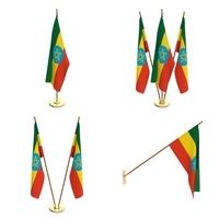 Ethiopia Flag Pack 3D Model