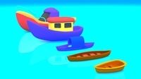 Cartoon Boat Set 3D Model