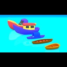 Cartoon Boat Set 3D Model