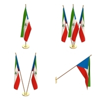 Equatorial Guinea Flag Pack 3D Model