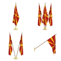 North Macedonia Flag Pack 3D Model