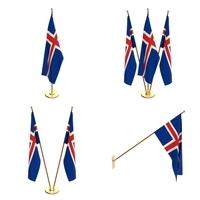 Iceland Flag Pack 3D Model