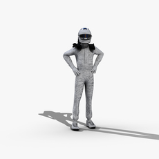 Race Car Driver - Maya Rigged 3D Model