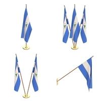 Nicaragua Flag Pack 3D Model