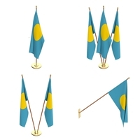 Palau Flag Pack 3D Model