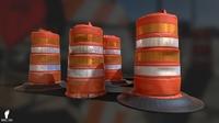 3D Traffic Drum Barrel Game Ready 3D Model
