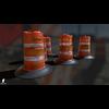 22 07 29 310 dirty 3d orange traffic drum barrier 4