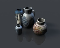 Low poly asian pottery collection 3D Model