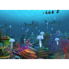 Underwater world of coral and aquatic plants animated 002 3D Model