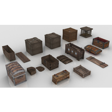 Collection of Medieval Chests and Crates 3D Model