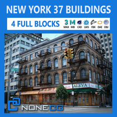 NYC - 4 Blocks - 37 Buildings 3D Model