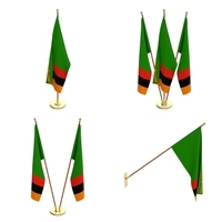 Zambia Flag Pack 3D Model